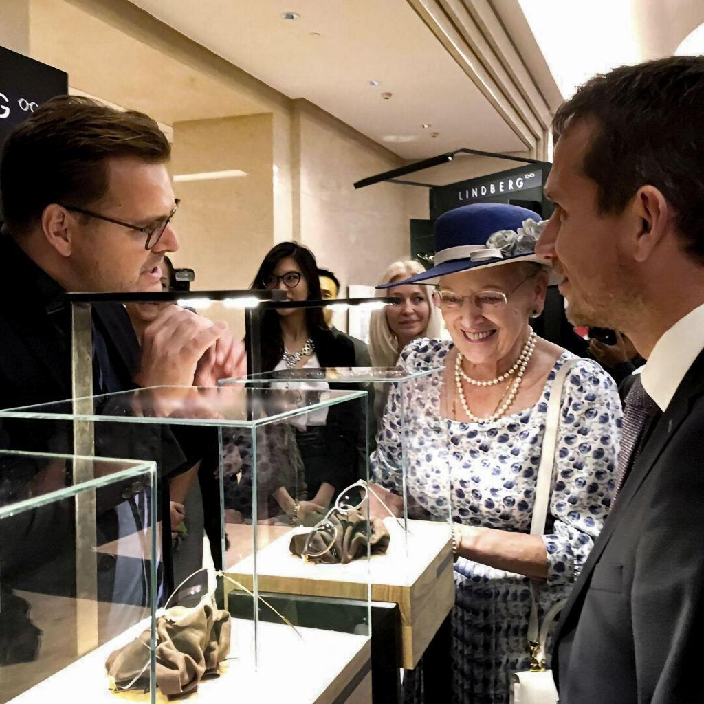 The Danish Queen Margrethe pays a visit to a Lindberg exhibit
