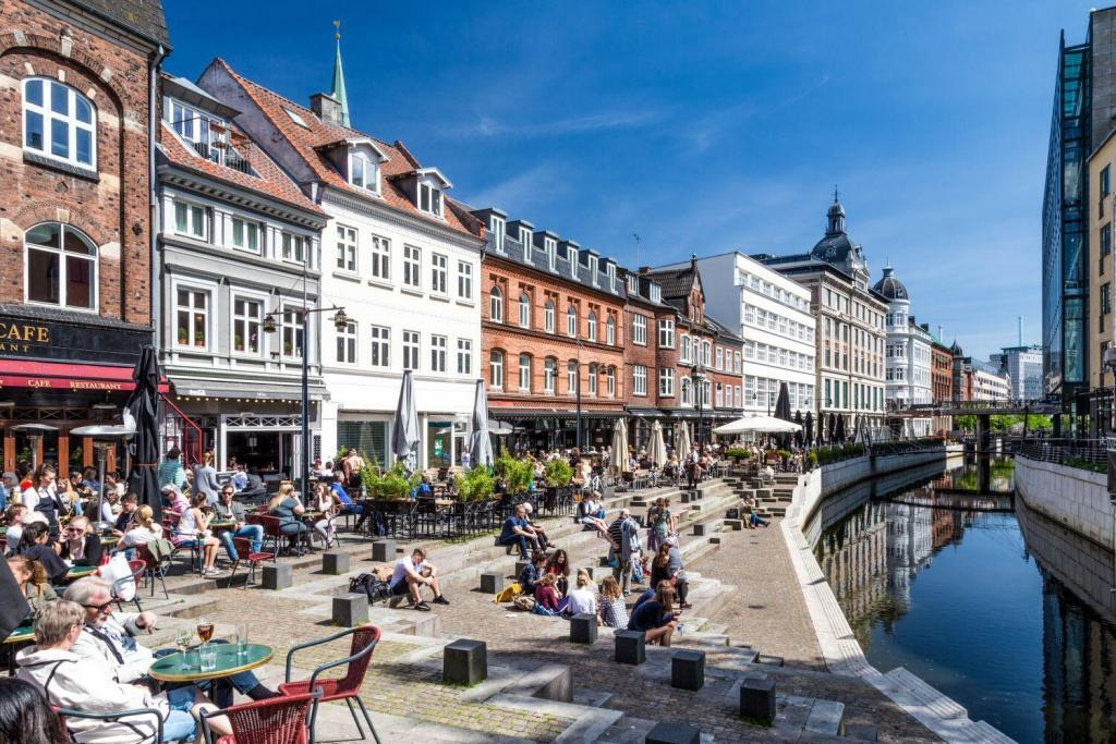 A view of the canal in Aarhus, Denmark, in a summer day
